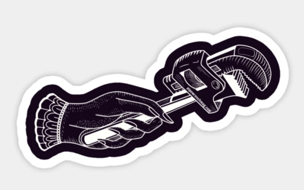 a drawing or a feminine hand holding a large pipe wrench, in white on a black background