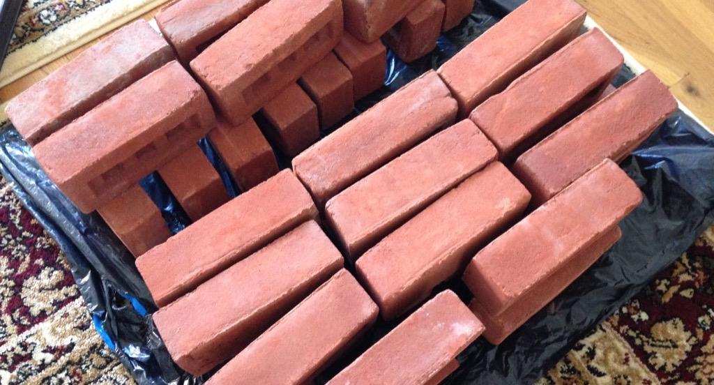 An aerial shot of a pile of bricks